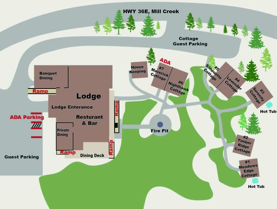 ADA map of the property showing the cottages and the main lodge